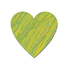 Green And Yellow Van Gogh Pattern Heart Magnet by Valentinaart
