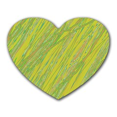 Green And Yellow Van Gogh Pattern Heart Mousepads by Valentinaart