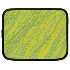 Green And Yellow Van Gogh Pattern Netbook Case (large) by Valentinaart