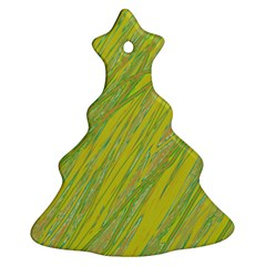 Green And Yellow Van Gogh Pattern Christmas Tree Ornament (2 Sides) by Valentinaart