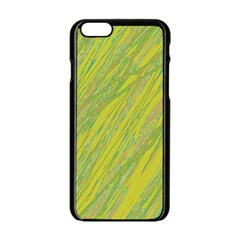 Green And Yellow Van Gogh Pattern Apple Iphone 6/6s Black Enamel Case by Valentinaart