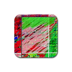 Colorful Pattern Rubber Coaster (square)  by Valentinaart