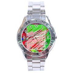 Colorful Pattern Stainless Steel Analogue Watch by Valentinaart