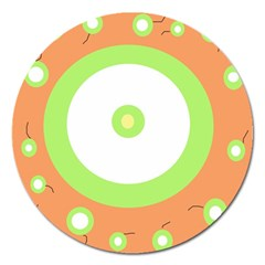 Green And Orange Design Magnet 5  (round) by Valentinaart