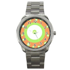 Green And Orange Design Sport Metal Watch by Valentinaart