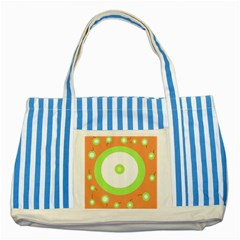 Green And Orange Design Striped Blue Tote Bag by Valentinaart