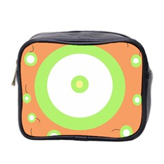 Green And Orange Design Mini Toiletries Bag 2 Side by Valentinaart