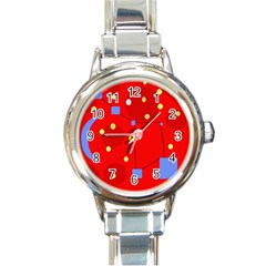 Red Sky Round Italian Charm Watch by Valentinaart
