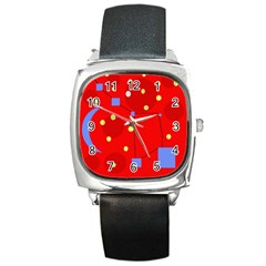 Red Sky Square Metal Watch by Valentinaart