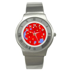 Red Sky Stainless Steel Watch by Valentinaart