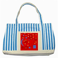Red Sky Striped Blue Tote Bag by Valentinaart