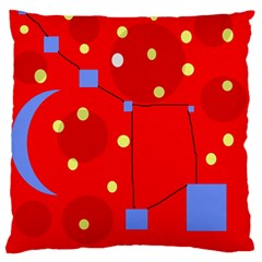 Red Sky Large Flano Cushion Case (one Side) by Valentinaart
