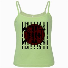 Red, Black And White Decorative Abstraction Green Spaghetti Tank by Valentinaart
