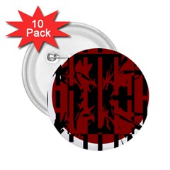 Red, Black And White Decorative Abstraction 2 25  Buttons (10 Pack)