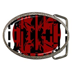 Red, Black And White Decorative Abstraction Belt Buckles by Valentinaart