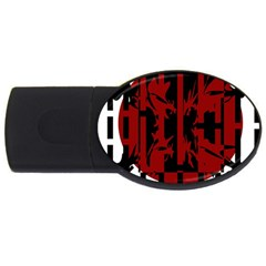 Red, Black And White Decorative Abstraction Usb Flash Drive Oval (4 Gb)  by Valentinaart