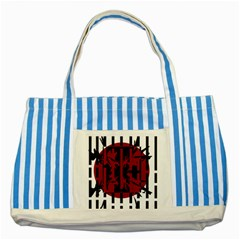 Red, Black And White Decorative Abstraction Striped Blue Tote Bag by Valentinaart