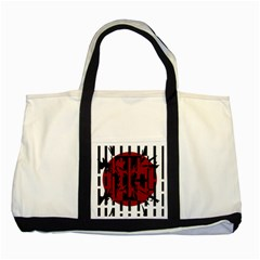 Red, Black And White Decorative Abstraction Two Tone Tote Bag by Valentinaart