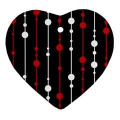 Red Black And White Pattern Heart Ornament (2 Sides) by Valentinaart
