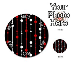 Red Black And White Pattern Playing Cards 54 (round)  by Valentinaart
