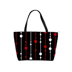 Red Black And White Pattern Shoulder Handbags by Valentinaart