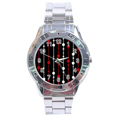 Red Black And White Pattern Stainless Steel Analogue Watch by Valentinaart