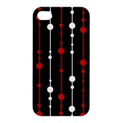 Red Black And White Pattern Apple Iphone 4/4s Hardshell Case by Valentinaart