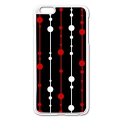 Red Black And White Pattern Apple Iphone 6 Plus/6s Plus Enamel White Case by Valentinaart