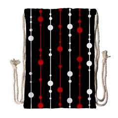 Red Black And White Pattern Drawstring Bag (large) by Valentinaart