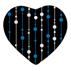 Blue, White And Black Pattern Ornament (heart)  by Valentinaart