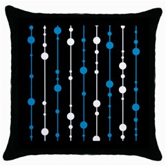 Blue, White And Black Pattern Throw Pillow Case (black) by Valentinaart