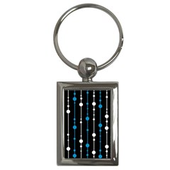 Blue, White And Black Pattern Key Chains (rectangle)