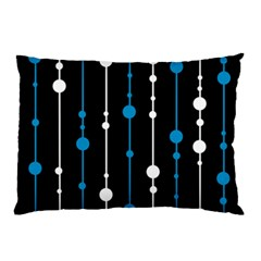 Blue, White And Black Pattern Pillow Case by Valentinaart
