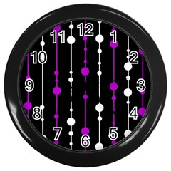 Purple, Black And White Pattern Wall Clocks (black) by Valentinaart