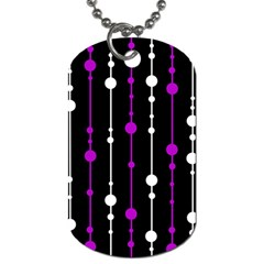 Purple, Black And White Pattern Dog Tag (two Sides) by Valentinaart