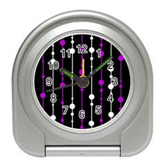 Purple, Black And White Pattern Travel Alarm Clocks by Valentinaart