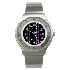 Purple, Black And White Pattern Stainless Steel Watch by Valentinaart