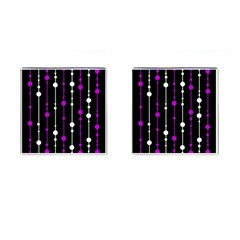 Purple, Black And White Pattern Cufflinks (square) by Valentinaart