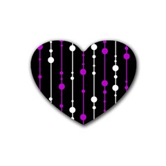 Purple, Black And White Pattern Heart Coaster (4 Pack)  by Valentinaart