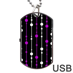 Purple, Black And White Pattern Dog Tag Usb Flash (two Sides)  by Valentinaart