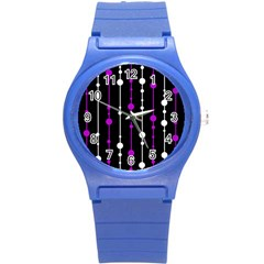 Purple, Black And White Pattern Round Plastic Sport Watch (s) by Valentinaart