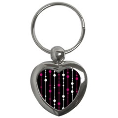 Magenta White And Black Pattern Key Chains (heart)  by Valentinaart