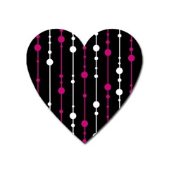 Magenta White And Black Pattern Heart Magnet by Valentinaart