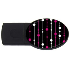 Magenta White And Black Pattern Usb Flash Drive Oval (4 Gb)  by Valentinaart