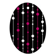 Magenta White And Black Pattern Oval Ornament (two Sides) by Valentinaart