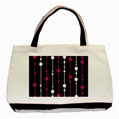 Magenta White And Black Pattern Basic Tote Bag (two Sides) by Valentinaart