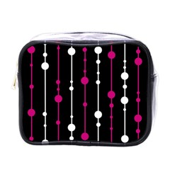 Magenta White And Black Pattern Mini Toiletries Bags by Valentinaart