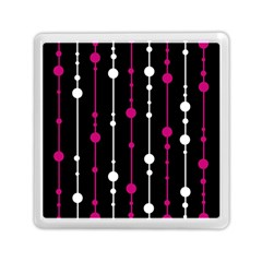 Magenta White And Black Pattern Memory Card Reader (square)  by Valentinaart