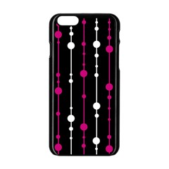 Magenta White And Black Pattern Apple Iphone 6/6s Black Enamel Case by Valentinaart