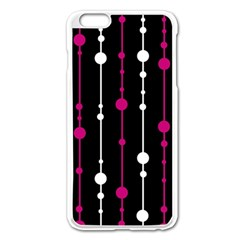 Magenta White And Black Pattern Apple Iphone 6 Plus/6s Plus Enamel White Case by Valentinaart
